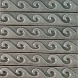 "Wave 1""x6"" Border Ceramic Handmade Tile - Gray Glaze Grouping"