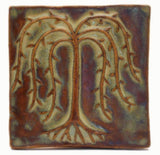 "Willow Tree 4""x4"" Ceramic Handmade Tile - Autumn Glaze"