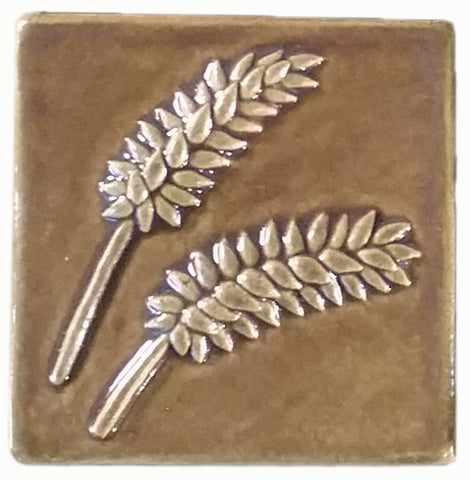 "Wheat 4""x4"" Ceramic Handmade Tile - Honey Glaze"