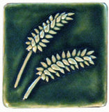 "Wheat 4""x4"" Ceramic Handmade Tile - Leaf Green Glaze"