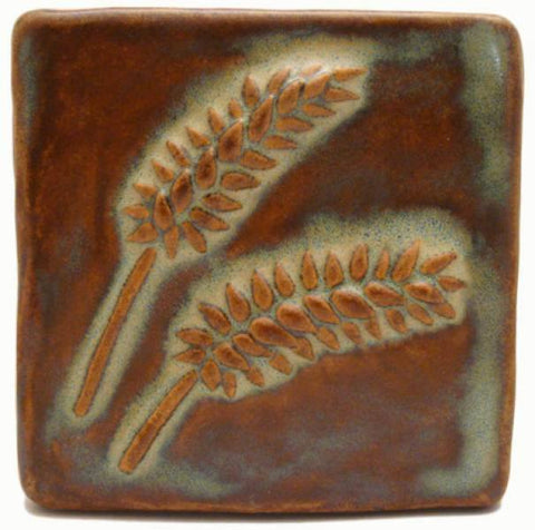 "Wheat 4""x4"" Ceramic Handmade Tile - Autumn Glaze"
