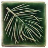 "White Pine 2""x2"" Ceramic Handmade Tile - leaf green glaze"