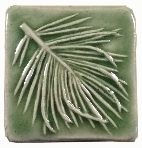 "White Pine 2""x2"" Ceramic Handmade Tile - spearmint glaze"