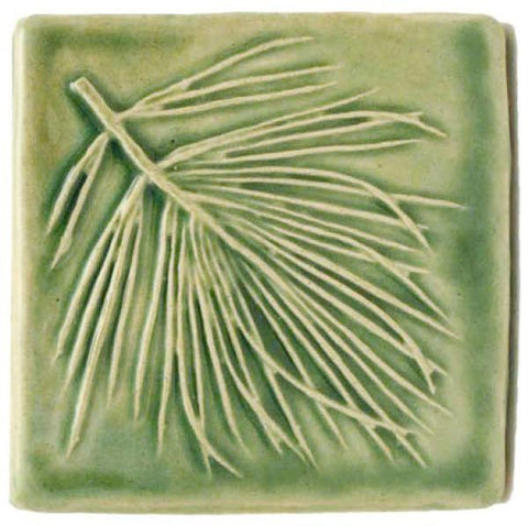 "White Pine 4""x4"" Ceramic Handmade Tile - Spearmint Glaze"