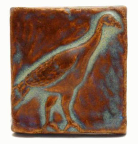 "Wild Turkey 2""x2"" Ceramic Handmade Tile - Autumn Glaze"