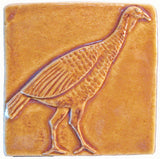 "Wild Turkey 4""x4"" Ceramic Handmade Tile - Honey Glaze"