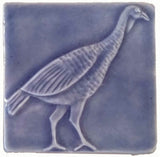 "Wild Turkey 4""x4"" Ceramic Handmade Tile - Watercolor Blue Glaze"
