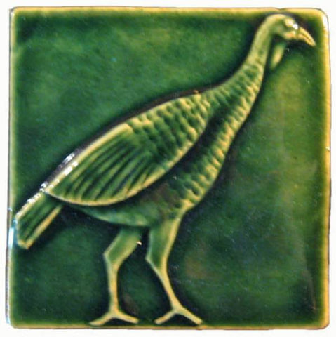 "Wild Turkey 4""x4"" Ceramic Handmade Tile - Leaf Green Glaze"