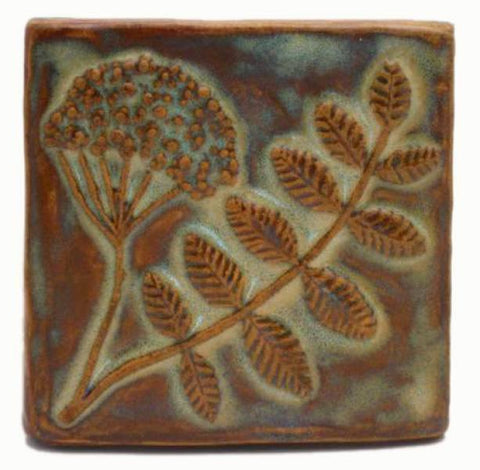 "Wildflower 4""x4"" Ceramic Handmade Tile - Autumn Glaze"