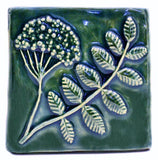 "Wildflower 4""x4"" Ceramic Handmade Tile - Leaf Green Glaze"