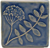 "Wildflower 4""x4"" Ceramic Handmade Tile - Watercolor Blue Glaze"