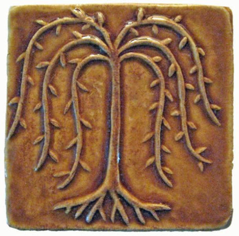 "Willow Tree 4""x4"" Ceramic Handmade Tile - Honey Glaze"