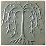 "Willow Tree 6""x6"" Ceramic Handmade Tile - Celadon Glaze"