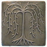 "Willow Tree 6""x6"" Ceramic Handmade Tile - Gray Glaze"