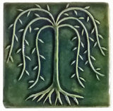 "Willow Tree 6""x6"" Ceramic Handmade Tile - Leaf Green Glaze"