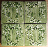 "Willow Tree 6""x6"" Ceramic Handmade Tile - Spearmint Glaze grouping"