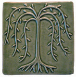 "Willow Tree 6""x6"" Ceramic Handmade Tile - Spearmint Glaze"