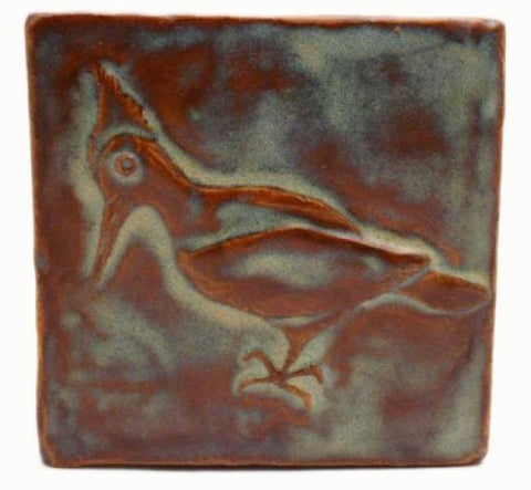 "Woodpecker 4""x4"" Ceramic Handmade Tile - Autumn Glaze"