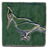 "Woodpecker 4""x4"" Ceramic Handmade Tile - Leaf Green Glaze"