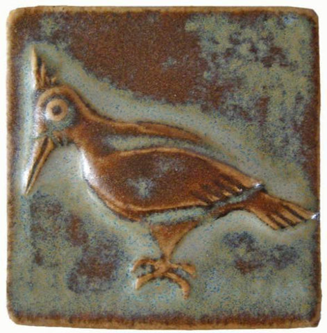 "Woodpecker 2""x2"" Ceramic Handmade Tile - Autumn Glaze"