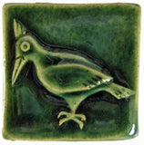 "Woodpecker 2""x2"" Ceramic Handmade Tile - Leaf Green Glaze"