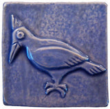 "Woodpecker 2""x2"" Ceramic Handmade Tile - Watercolor Blue Glaze"