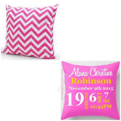 Custom Pillow Talk Chevron Announcement Pillow - Wristlets N' Things