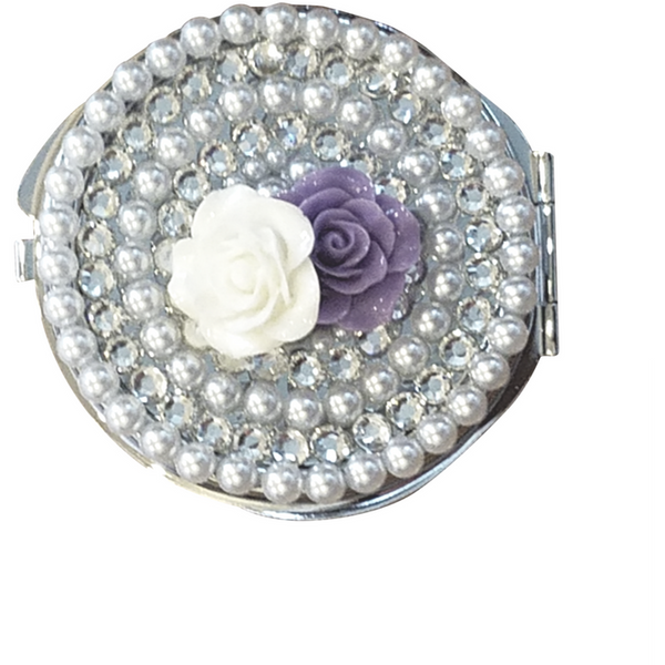 Custom Diamonds and Pearls Compact Mirror - Wristlets N' Things