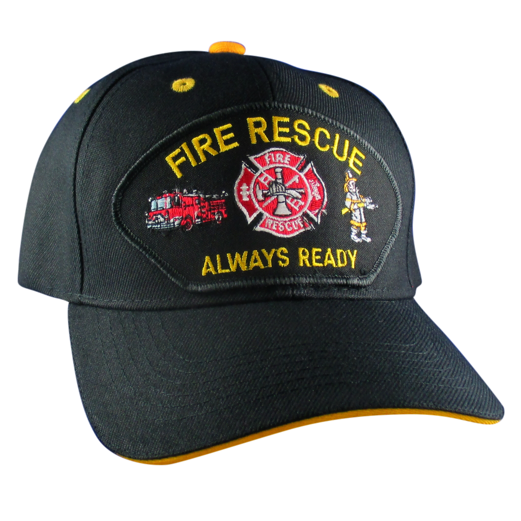 Fire Rescue Always Ready Hat - Embroidered Patch Baseball Cap ... 7d19fa77e74