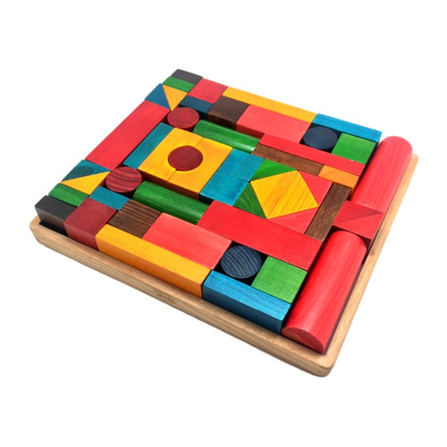 Skola Toys - Building Blocks - Wooden Blocks for Construction, Creative Play - Educational Learning Toy for 3 to 6 years