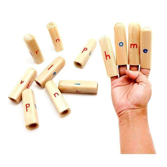 Skola Toys Alphabet Finger Puppets - Word Formation - Wooden Educational Language Learning Toy 4 to 6 Year Old