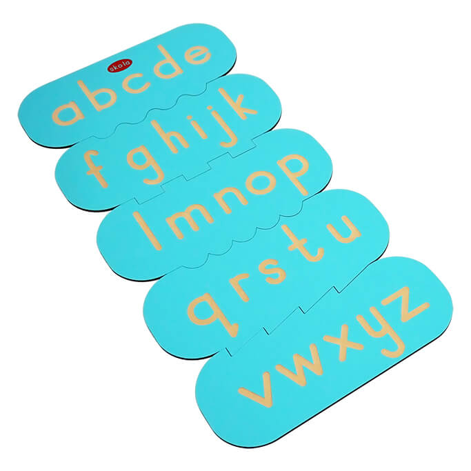 Skola Toys - Alphabet Stencils Lower Case (Small Letters) - Writing and Tracing - Language Learning Toy for 2 to 4 Year Old