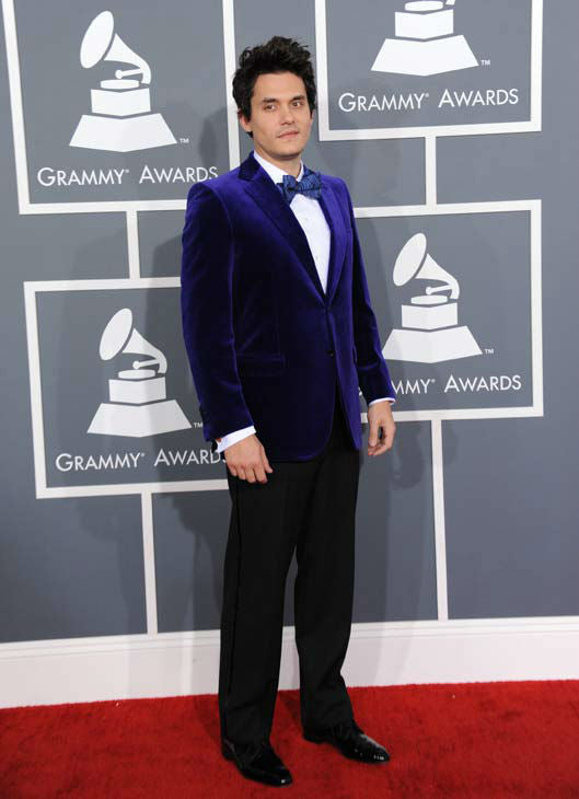 John Mayer looking suave in his purple suede tuxedo.