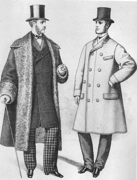 Note: overcoats, top hats, and trousers