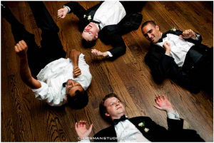 Dance floor grooms, fun tuxedo photo, Ben Chrisman Photography