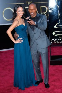 Jamie Foxx looking snazzy at the Oscars in his grey tux.