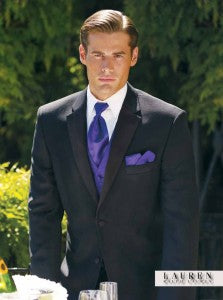 A black tux with splashes of spring colors on the tie and pocket square makes a perfect ensemble for Easter.
