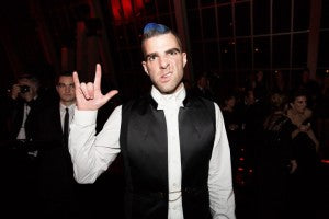 Zachary Quinto staying true to the MET Gala's punk theme during the after party.