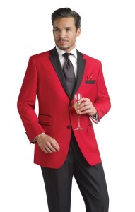 Make a bold statement by wearing a red prom tuxedo.