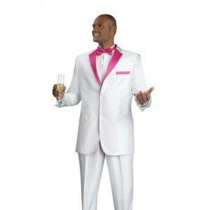 Match your date in our white tux with colored lapel.