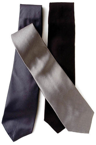100% Silk 4-in Hand Formal Neck Tie (Black)