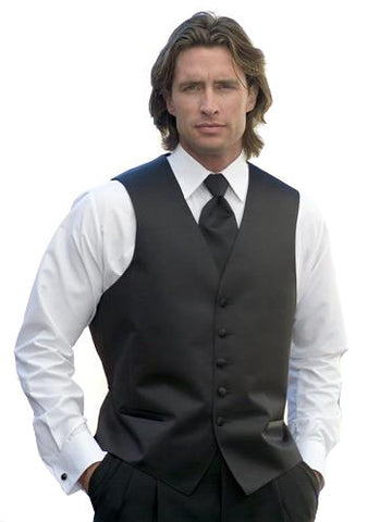 Black Satin Full Back Tuxedo Vest (#105V) (8X-Large (74-76))