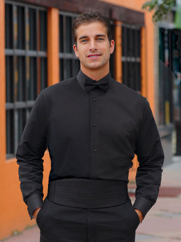 Black Tuxedo Shirt - Non Pleated with Laydown Collar