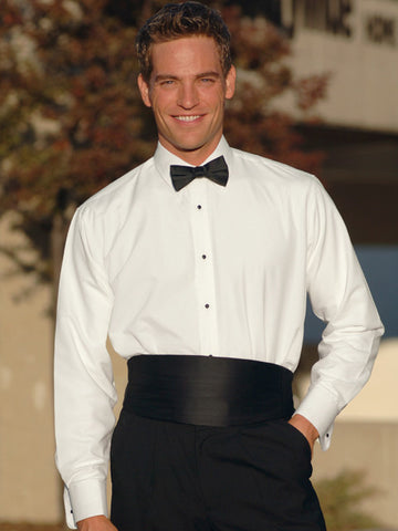 White Laydown Collar Non-Pleated Tuxedo Shirt