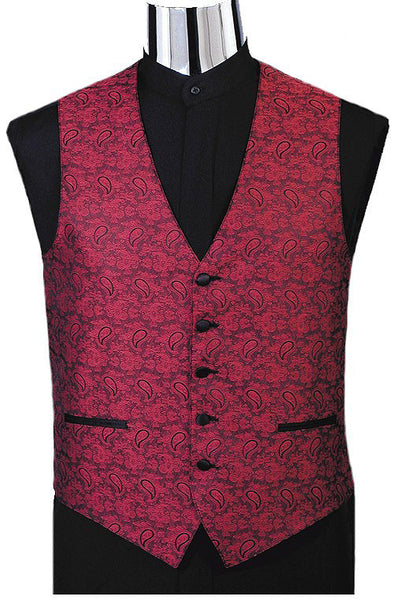 Paisley Jacquard Tuxedo Vest (#130V) - Purple and Tie Set