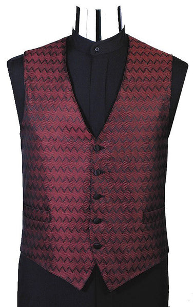 Wave Jacquard Tuxedo Vest (#132V) - Burgundy and Tie Set