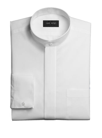 Mandarin Collar Tuxedo Shirt with Non Pleated Fly Front
