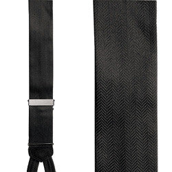 Herringbone Formal Suspenders - Black Silk Herringbone Pattern Formal Braces
