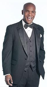 Black Polyester Tuxedo Jacket with Peak Lapel