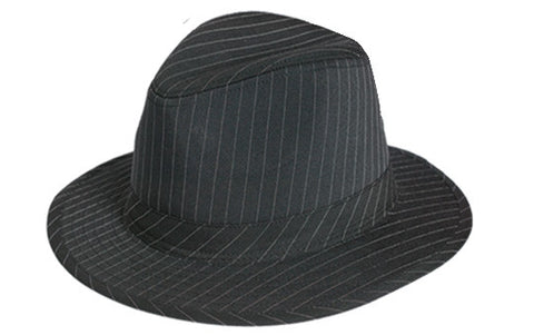 Black Fedora Hat with White Pinstripe
